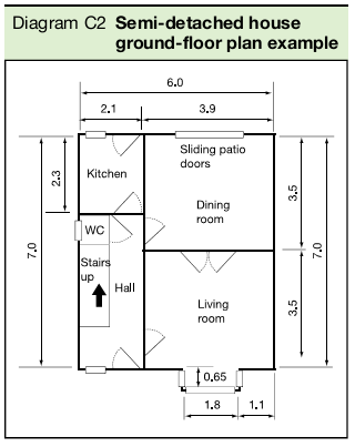 Diagram C2 Semi-detached house ground-floor plan example
