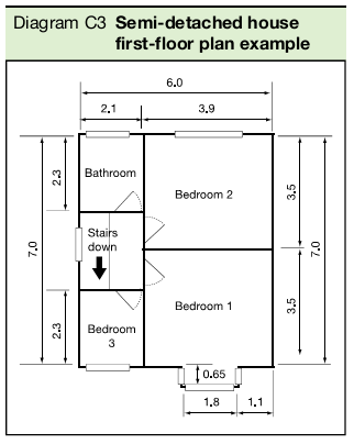 Diagram C3 Semi-detached house first-floor plan example