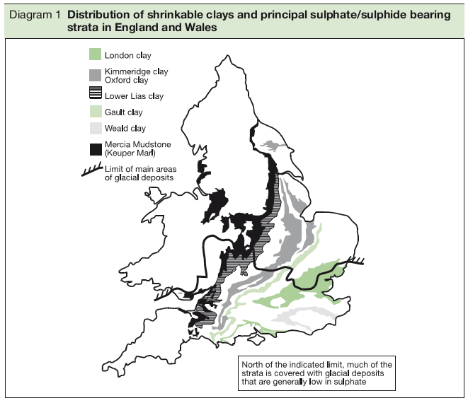 Distribution of shrinkable clays and principal sulphate/sulphide bearing strata in England and Wales